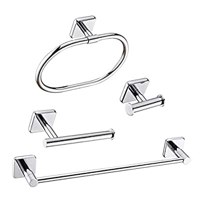 HANEBATH 4-Piece Bathroom Hardware Accessories Set Complete, Polished Chrome, Wall Mounted Towel Bar, Towel Ring, Toilet Paper Roll Holder, Robe Hook