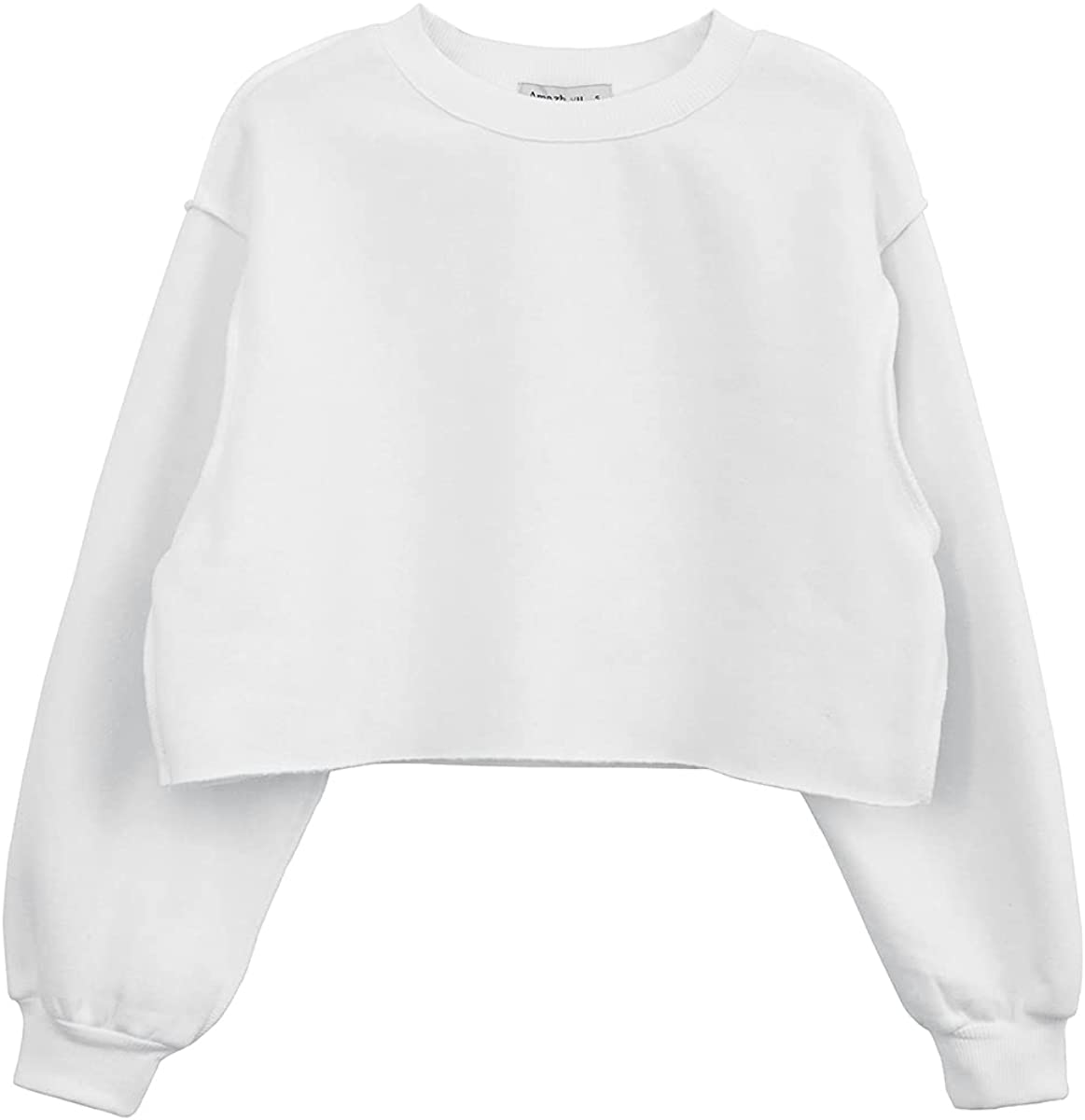 Women Pullover Cropped Hoodies Long Sleeves Sweatshirts Casual Crop Tops for Spring Autumn Winter