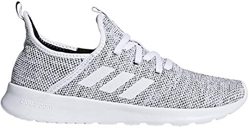 adidas Women's Cloudfoam Pure Running Shoe, white/white/black, 8.5 Medium US