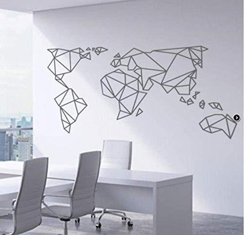 Mapa Del Mundo Geométrico Pegatinas De Pared Decoración De Dormitorio Decoración De Sala De Estar Pared Vinilo Arte Patrón Pegatinas De Pared Decoración Moderna Del Hogar 43X75Cm