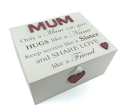 Mum Coffret cadeau Style vintage grande boîte souvenir en bois massif avec sentiment
