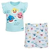 Pinkfong Baby Shark Baby Girls Ruffle T-Shirt Shorts Set Blue 18 Months