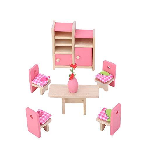 wosume Mini Juego de Muebles de Madera de simulación Realista para 1:12 Accesorios de casa de muñecas Accesorios de decoración de muñecas Juegos de imaginación Juguete para niños(Dining Room)