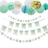 Easy Joy Mint Grün Geburtstag Deko Set Happy BIRDTHDAY Girlande Seidenpapier Pompoms Gold Banner Papier Lampions Minze