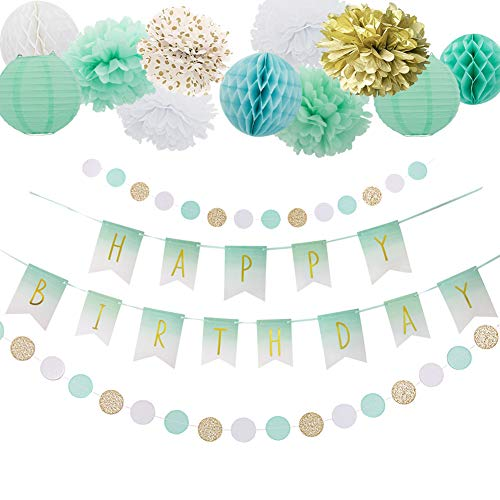 Easy Joy Mint Grün Geburtstag Deko Set Happy BIRDTHDAY Girlande Seidenpapier Pompoms Gold Banner Papier Lampions Minze