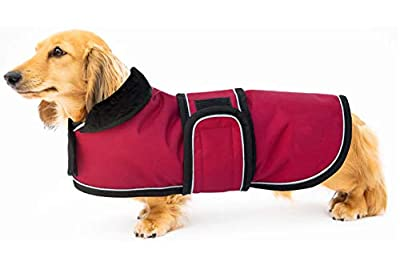 Ctomche Dog Coats Jacket Sport Outdoor Coat,Waterproof Windproof Fleece Lined Dog Coat Outdoor Clothing with Reflective Stripes,Perfect for Dachshunds Red-XL