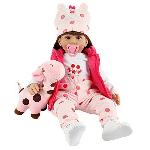 camouflage net 6226128628702 Zachte Silicone Herboren Peuter Realistische Levensechte Lange Haar Baby Meisje Prinses Poppen met Herten Pop & Hoed