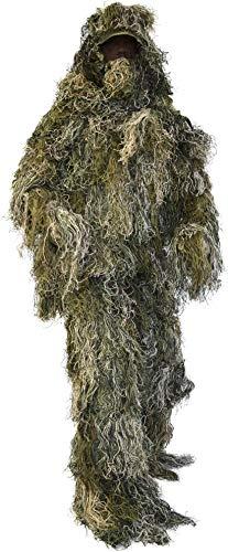 Tarnanzug, Ghillie Suit, bestehend aus Jacke, Hose, Gewehr- und Kopfbedeckung inkl Tragetasche Farbe Woodland Camouflage Größe XL/XXL