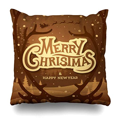 Throw Pillow Covers Fir Celebration Vintage Christmas Reindeer Antlers Holidays Forest Claus Deer Draw Design Old Home Decor Sofa Pillowcase Square Size 16 X 16 Inches Cushion Cases 18\ X 18\(IN)