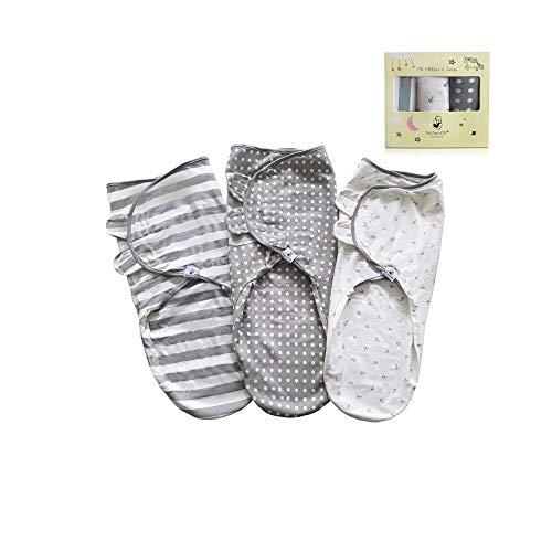 Fastique Kids® rugzak voor pasgeborenen baby's, baby's, wikkeldeken voor kinderen, zachte en behaaglijke slaapzak, verpakking van 3 stuks wit II