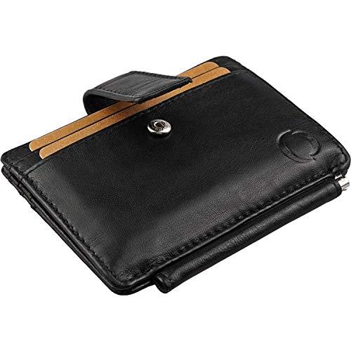 Geldbörse mit Geldklammer aus Echt Leder - Geldbeutel mit RFID Schutz, Brieftasche mit Sicherheitsverschluss, Kredit Kartenetui mit Geldclip, Portemonee Herren, Mini Ausweisetui, Smart Wallet