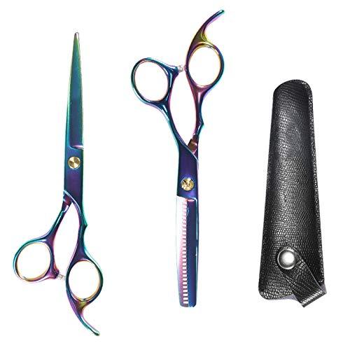 Juego de tijeras de peluquería premium afiladas, tijeras de corte de pelo, delgadas de una sola cara, unisex, tijeras de peluquería