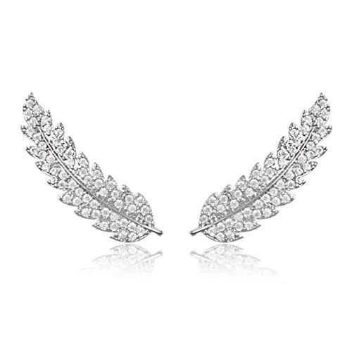 LAXPICOL Angel's Wings Feather Leaf Cubic Zirconia Crystal Wrap Earrings Climber Earring for Women Silver Tone