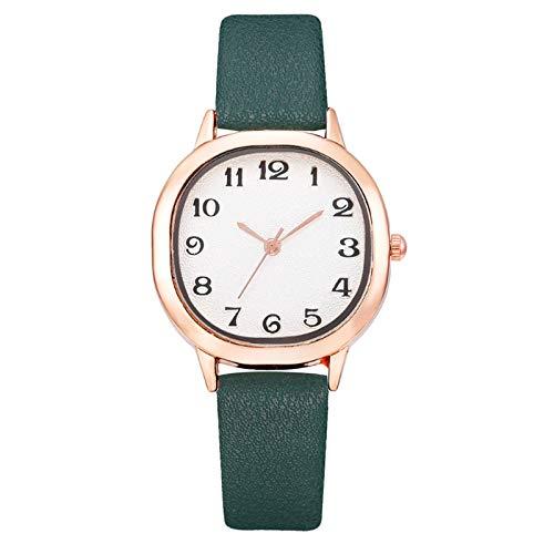 JZDH Relojes para Mujer Mujer de Moda de Cuero Banda analógica de Cuarzo Reloj de muñeca Redondo Relojes de Pulsera de Pulsera Reloj de Pulsera Relojes Decorativos Casuales para Niñas Damas