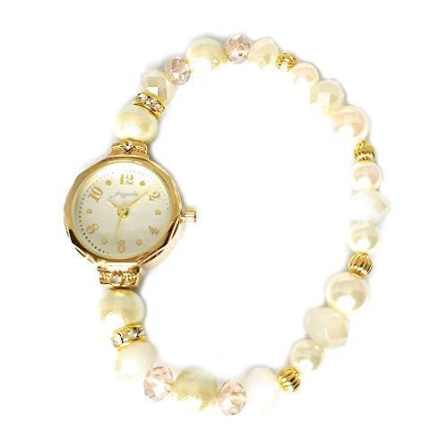 コットンパール ブレスウォッチ レディース腕時計 (ブレスレットタイプ) バンドがゴムのように伸びる ゴールド/ベージュ N01221S-GD/BE