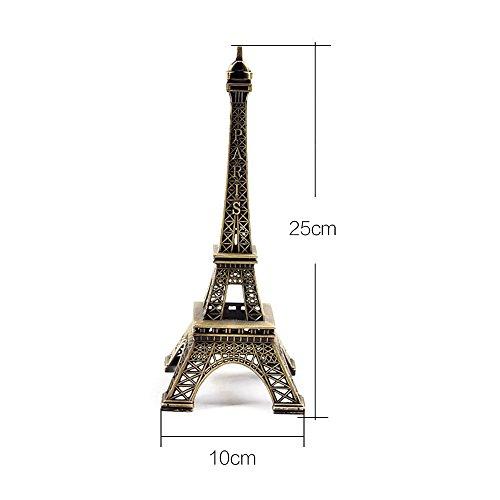 10cm Creative Metal París Eiffel Torre Modelo Figura viaje recuerdos manualidades de decoración del hogar Foto Prop, 25 cm