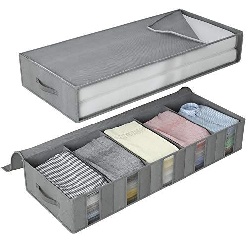 DIMJ Aufbewahrungstasche, Zwei Verschiedene Unterbettkommode mit Sichtfenster und Haltegriffen - Lagerung für Decken, Kleidung, Kissen und mehr (Grau)