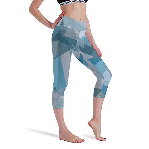 DKISEE Vrouwen Hoge Taille Zeven Punten Yoga Broek Lichtblauwe Driehoek Gedrukte Sportbroek Leggings Hardlopen Gym Sweatpants voor Vrouwen