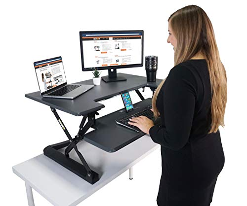 """Victor DCX760G High Rise Collection Height Adjustable Standing Desk with Removable Keyboard Tray   Gray   36"""" Wide Standing Desk   Professional or Home Use   Compatible with Most Monitor Arms"""