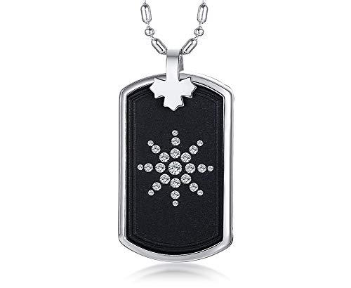 VNOX Lava Hematite Stone Stainless Steel Bio Pendant Necklace Health Care for Men Women,Free Chain