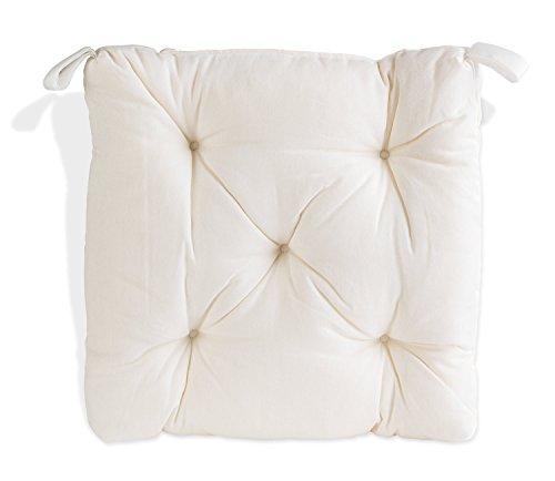 Stuhlkissen Sitzkissen Sitzpolster Gartenstuhlauflage | B 40 cm x L 40 cm | Weiß | Baumwolle