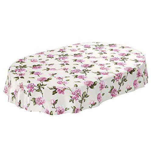 Anro, Tovaglia cerata lavabile, tovaglia cerata, Tela cerata., Fiori rosa/lilla., Oval 140 x 180cm Schnittkante