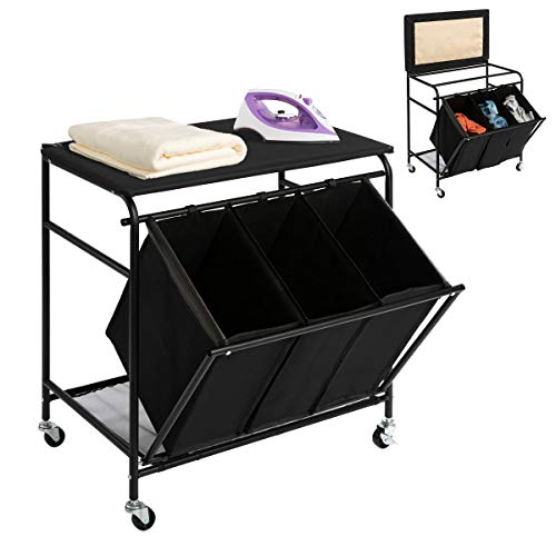 HollyHOME Laundry Sorter Cart with Ironing Board with Side Pull 3-Bag Heavy-Duty Laundry Hamper and 4 Wheels Black
