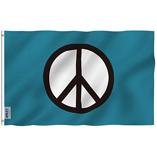Anley Fly Breeze 3x5 Foot Peace Symbol Flag - Vivid Color and Fade Proof - Canvas Header and Double Stitched - World Peace Flags Polyester with Brass Grommets 3 X 5 Ft