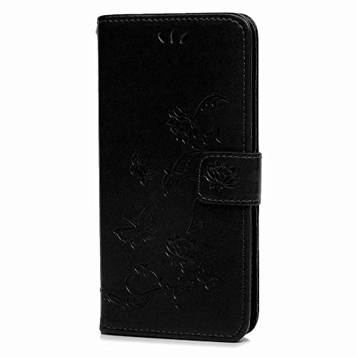 Samsung Galaxy A42 Case,ShockProof PU Leather Flip Case Notebook Wallet Case Embossed Lotus with Soft TPU Inner Kickstand Card Holder Slots Protective Skin,Black