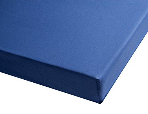 San Carlos Combicolor- Drap Housse pour lit 190x80x1 cm Bleu foncé