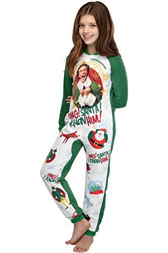 Elf The Movie Kids' OMG Santa! I Know Him! One Piece Sleeper Pajama Union Suit For Girls Or Boys (L/XL)