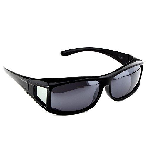 Active SOL Überzieh-Sonnenbrille für Herren | Sonnen-Überbrille UV400 | polarisiert | Fit-Over Polbrille für Brillenträger (schwarz glänzend)