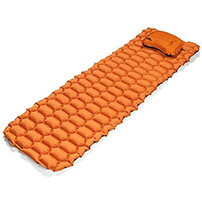 Cascade Mountain Tech Sleeping Pad and Pillow - Durable Lighweight Inflatable Camping Mat for Backpacking & Hiking