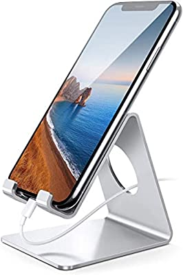 Lamicall Cell Phone Stand, Desk Phone Holder Cradle Compatible with Phone 11 Pro Xs Max XR X 8 7 6 Plus SE, All Smartphones Charging Dock, Desktop Accessories - Silver from Lamicall