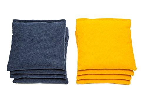 Weather Resistant Cornhole Bags (Set of 8) by SC Cornhole (Yellow/Navy Blue)