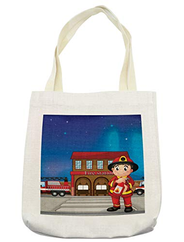 Lunarable Fireman Tote Bag, Cartoon Illustration of a Fire Station with a Firefighter Holding an Extinguisher, Cloth Linen Reusable Bag for Shopping Books Beach and More, 16.5
