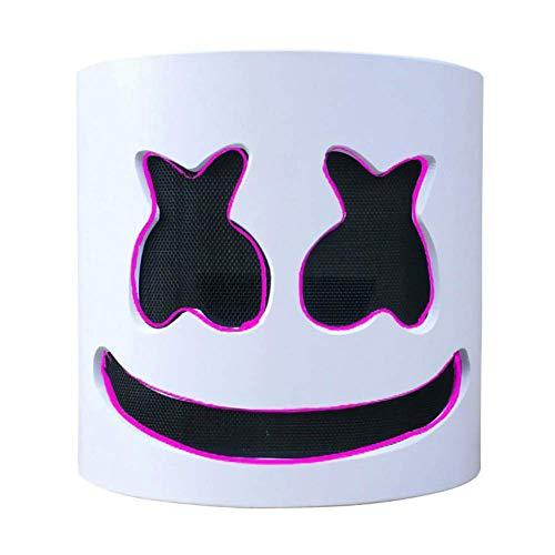DJ Marshmallow LED Light Mask, Music Festival Marshmallow Full Head Casco de Látex Máscara de Halloween Fiesta de Disfraces Cosplay Bar Props(Rosa)