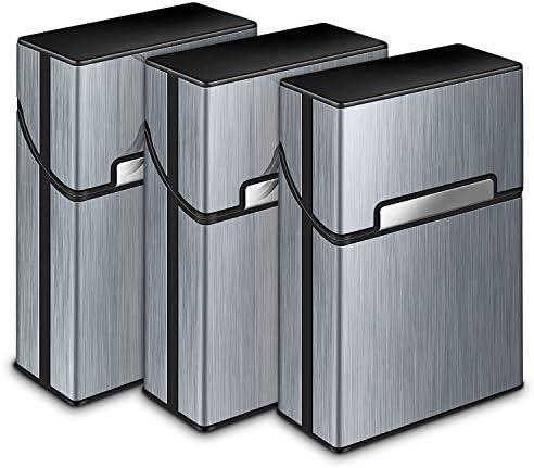 Yosemy 3 Packs Cigarette Case,Aluminum Cigarette Holder Cigarette Tin Metal Aluminum Pocket Cigarette Cigar,Tobacco Box Case Holder,Cigar Box,Cigarettes Box for Men and Women,Grey,Rose,Champagne