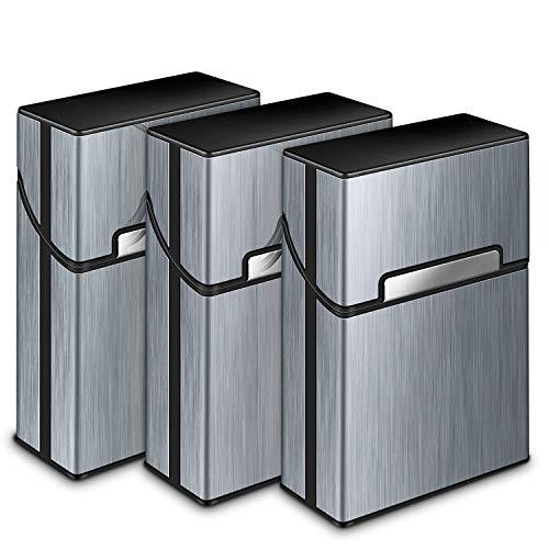 Zigarettenetui, Yosemy 3 Stück Zigarettenbox Metall mit Magnetverschluss, Zigarettenetui aus Alu, Verstärktem Kunststoffgehäuse & Einrast Funktion Für 20er Standard Schachteln (Grau)