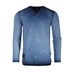 Men's Vintage Wash Color Dyed Long Sleeve V-Neck Henley Slim Casual Shirt