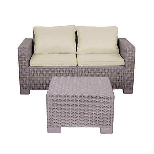 Rattan-Gartenmöbel-Set, 2-Sitzer-Sofa mit Couchtisch, California Sofa-Set mit Cappuccino-Kissen (Cappuccino)
