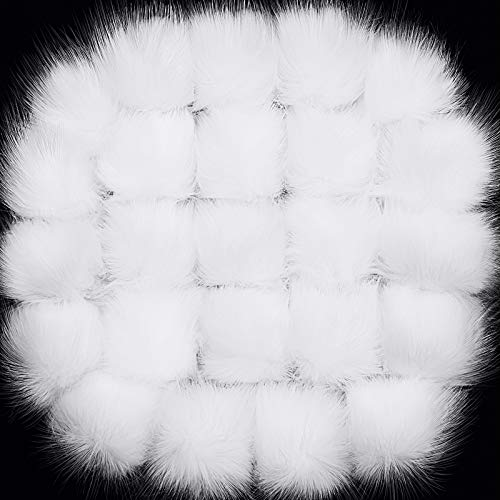 24 Pieces Faux Fur Pom Pom Balls with Elastic Loop DIY Faux Fur Fluffy Pompoms Ball with Rubber Band Knitting Accessories for Hats Shoes Scarves Bags Keychain Charms (White)