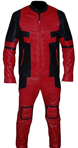 Fashion_First Herren Wade Wilson Deadpoool Ryan Reynolds Kunstleder Kostüm Jacke Gr. XL, Deadpool Kostümjacke