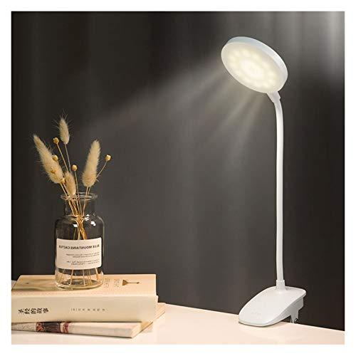 Lámpara De Escritorio LED Clip En El Escritorio De Lectura Lámpara De Mesa De Protección De Ojos Lámpara USB Recargable para La Oficina De Trabajo De Estudio (Color : White)