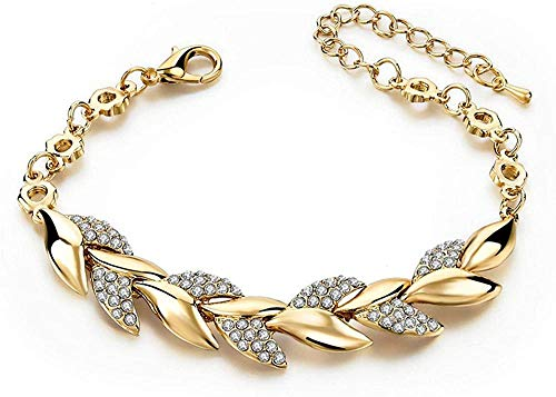 Pulsera Pulseras Brazaletes Pulseras Estilo Bohemio Mujeres Niñas Pulsera de Oro Diamante de imitación Hojas Cadena Brazalete Joyería de Boda de Lujo Moda Simple Elegante Nuevo estilo1-Style1