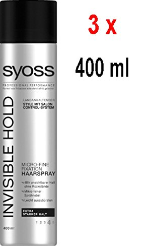 Syoss Haarspray – Invisible Hold - extra strong hold - 3er Pack (3 x 400 ml)
