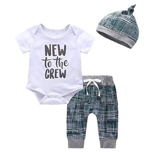 SUCES Baby Strampler 3 Stück Neugeborenes Jungen Mädchen Striped Brief Print Kurze Ärmel T-Shirt + Hosen + Hut Casual Set Baby Jungen Sommer Säuglingspflege