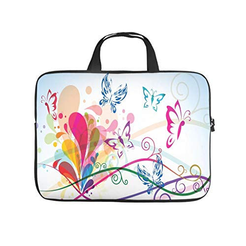 magic butterfly Laptop bag Design Laptop Case Bag Colorful Scratch-Resistant Laptop Sleeve with Portable Handle for Women Men white 10 zoll