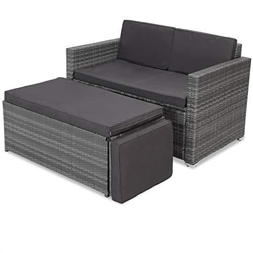 Casaria Poly Rattan Lounge Sofa 2 Sitzer Gartensofa mit Sitztruhe 7cm Auflagen Outdoor Couch Gartenliege Wetterfest Grau - 3
