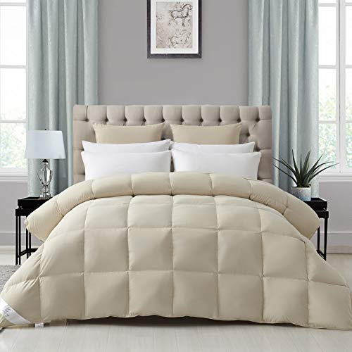 SHEONE Goose Down Comforter Queen Size Duvet Insert, Lightweight All-Season Goose Down Feather Comforter with Corner Tabs, Softer Than Egyptian Cotton, 600+Fill Power,Hypoallergenic